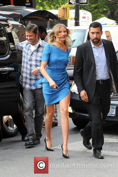 Cameron Diaz returning to her Manhattan hotel after...