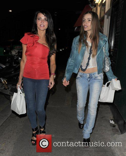 Lizzie Cundy and Elen Rivas leaving a private...