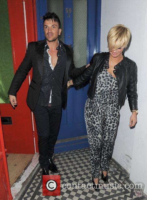 Peter Andre and Kerry Katona leaving a private...
