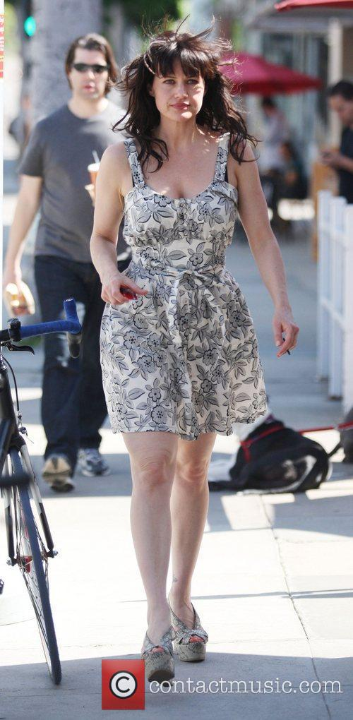 Carla Gugino leaving Urth Cafe after having lunch...