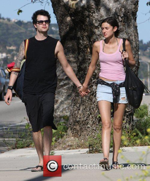 American actress Caroline D'Amore  walking with her...