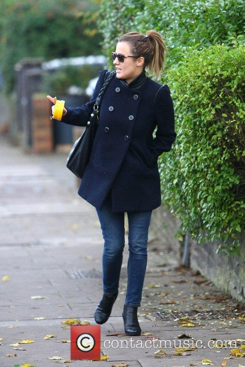 Caroline Flack walking to her house London, England
