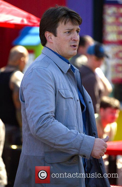 Nathan Fillion films scenes for television show 'Castle'...