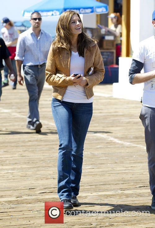Stana Katic films scenes for television show 'Castle'...