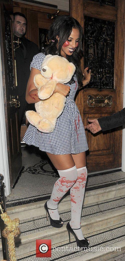 Rochelle Wiseman leaving a Halloween party, held in...