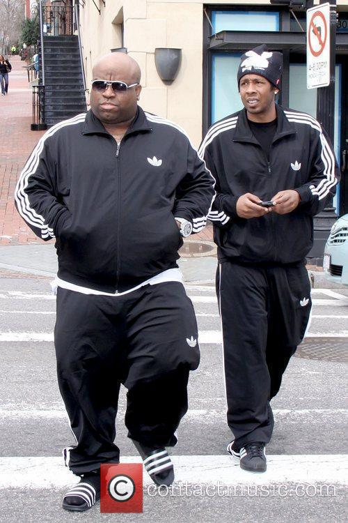 Wearing an Adidas tracksuit while out shopping with...