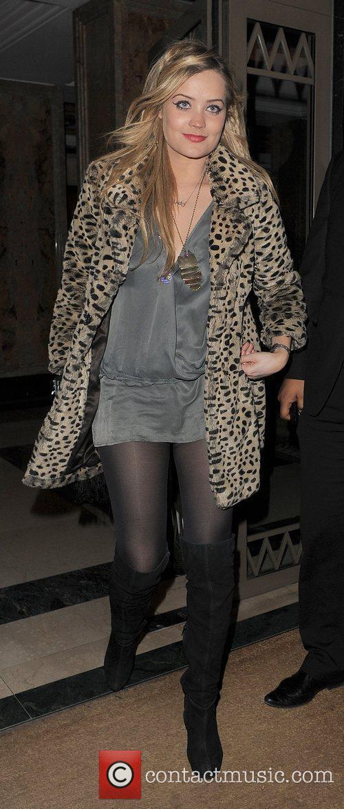 Laura Whitmore leaving the Westbury Hotel. London, England
