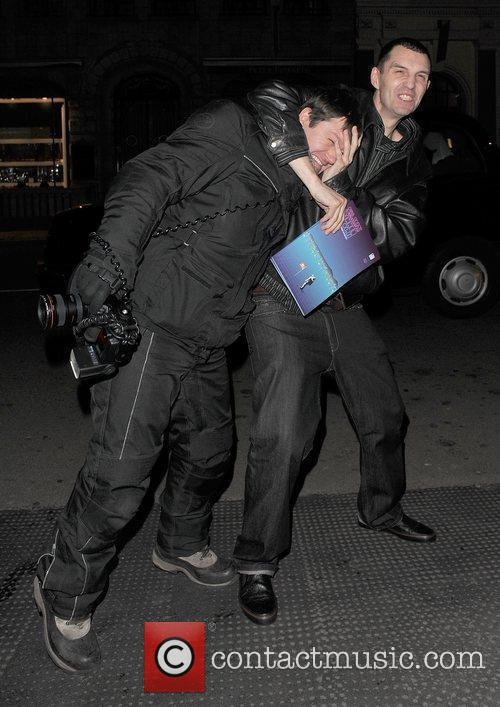 Tim Westwood leaving the Westbury Hotel, and messes...