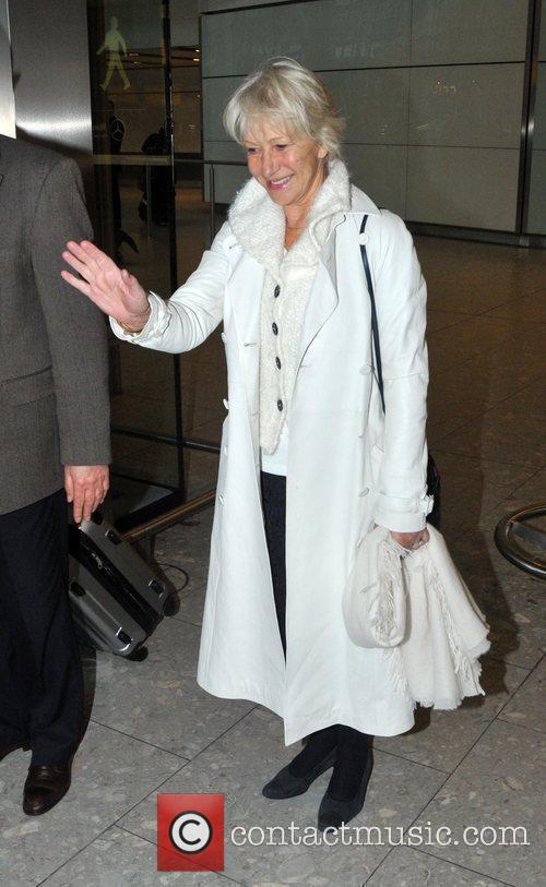 Dame Helen Mirren arriving at Heathrow airport London,...