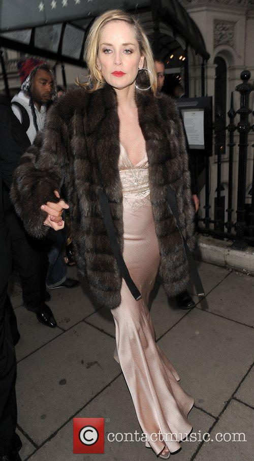 Sharon Stone leaving her hotel. London, England