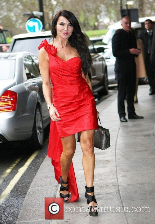 Lizzie Cundy celebrities leaving The Dorchester Hotel...