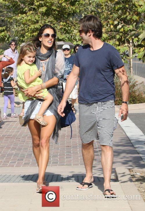 Alessandra Ambrosio with her husband Jamie Mazur and...