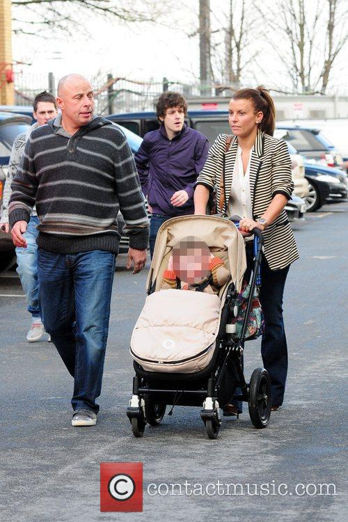 Arrives at Old Trafford with her son, Kai,...