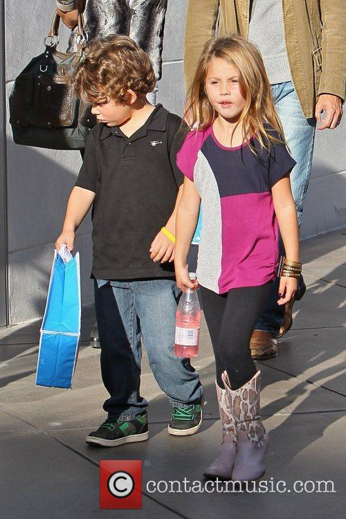 Shopping at Century City Mall with her family...