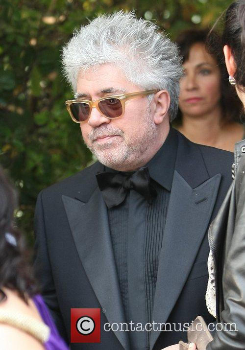 Pedro Almodovar leaving the Martinez Hotel during the...
