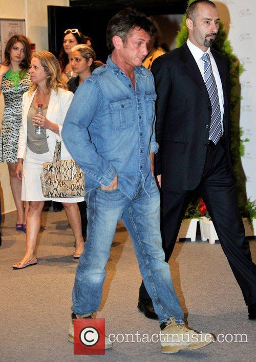Sean Penn leaving the Palais de Festivals during...