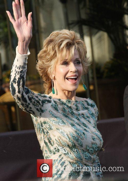 Jane Fonda Celebrities leaving the Martinez Hotel during...