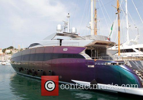 Roberto Cavalli's yacht colourful yacht in the marina...