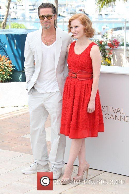 Brad Pitt and Jessica Chastain 2011 Cannes International...