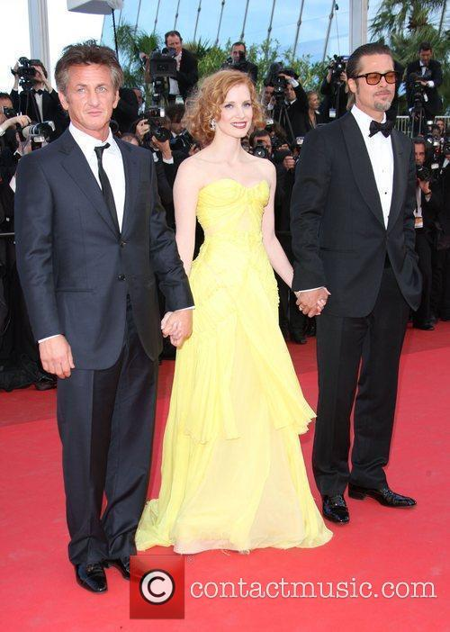 Sean Penn, Jessice Chastain, Brad Pitt 2011 Cannes...