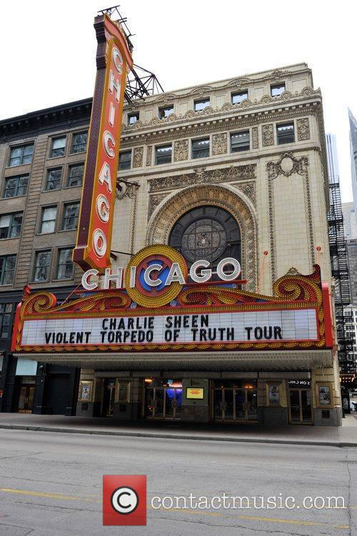 An exterior view of the Chicago Theater which...
