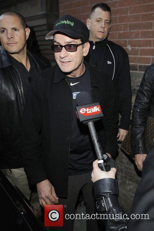 Charlie Sheen arriving at the back door entrance...