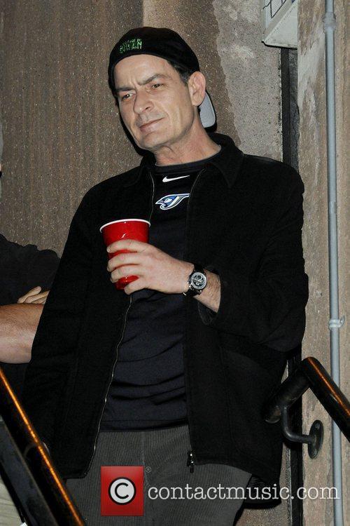Charlie Sheen taking a smoke break and greet...