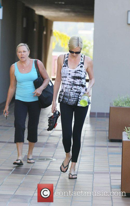 Charlize Theron arrives at Crunch Gym for a...