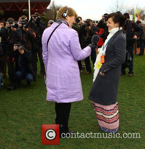 Lily Allen speaking to Clare Balding while attending...
