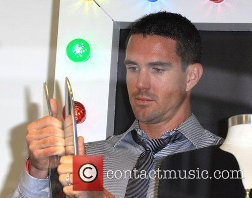 Kevin Pietersen celebrates the launch of his fashion...