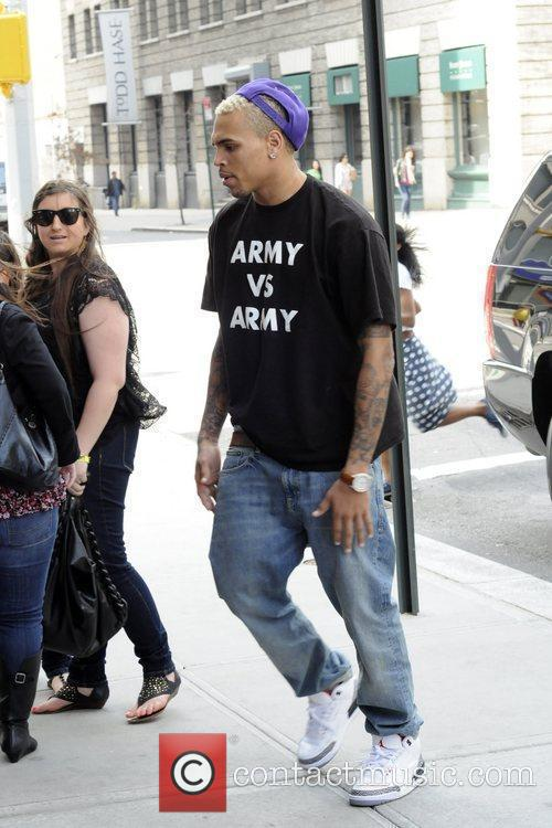 Chris Brown arrives at a Manhattan hotel New...