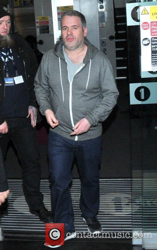 Chris Moyles leaves the BBC Radio 1 studios...