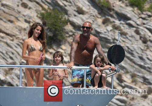 Christian Audigier with his sons and girlfriend Nathalie...