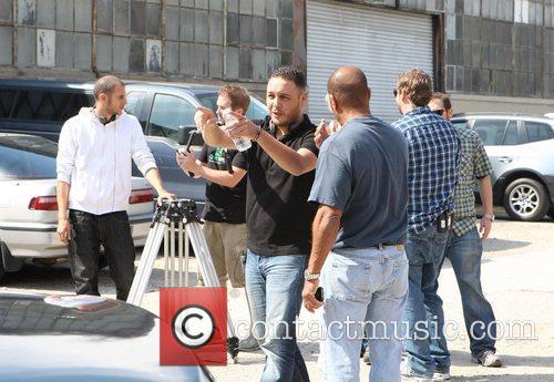 Director Kader Ayd on the set of Farenheit...