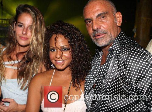 Nathalie Sorensen, Christian Audigier and Christina Milian hang...