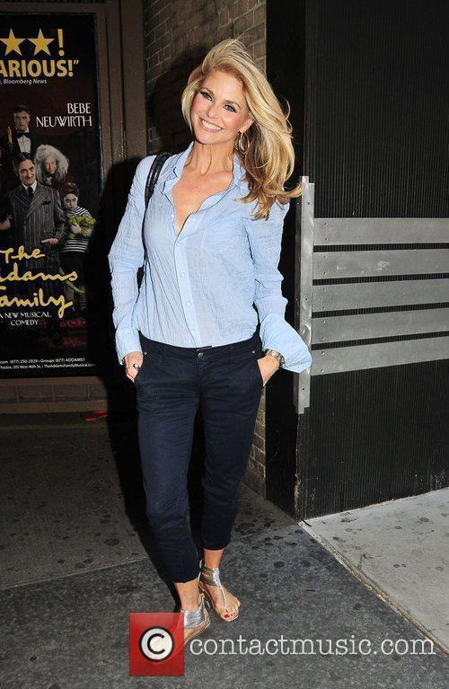 Christie Brinkley leaving the Ambassador Theater after performing...
