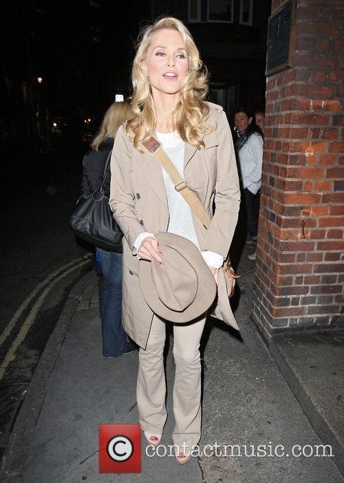 Christie Brinkley leaving the Cambridge Theatre after her...
