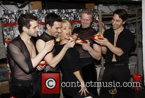 Backstage celebration with the cast of the Broadway...