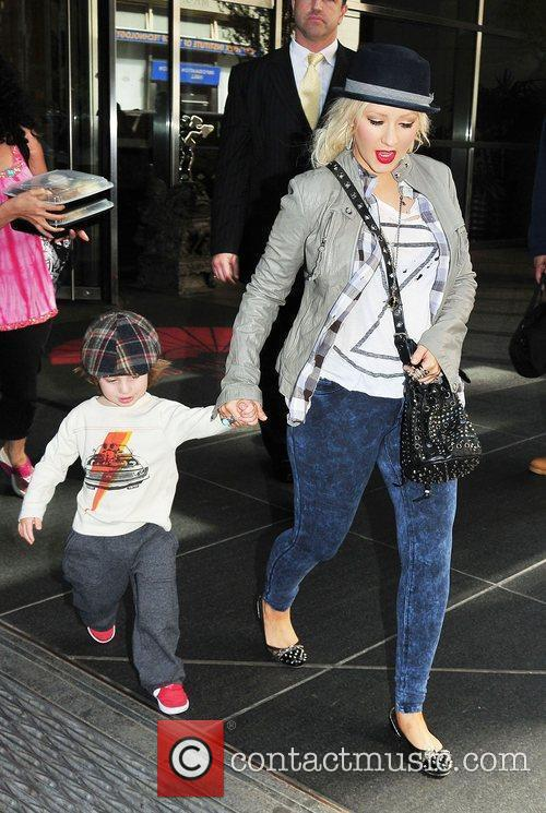Christina Aguilera and her son Max are seen...