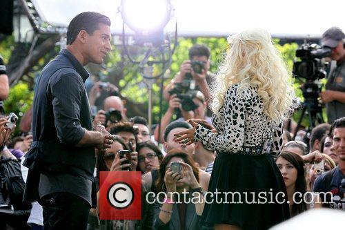 Christina Aguilera filming a segment for the entertainment...