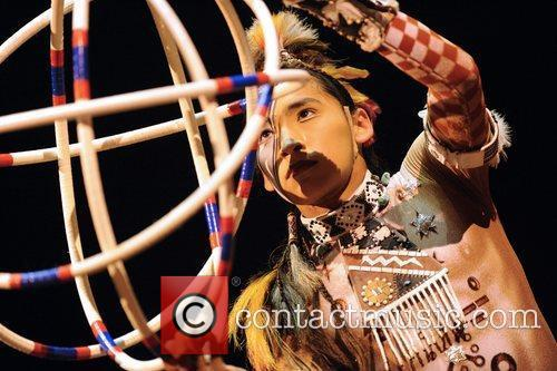 Hoops Dancer performs at the
