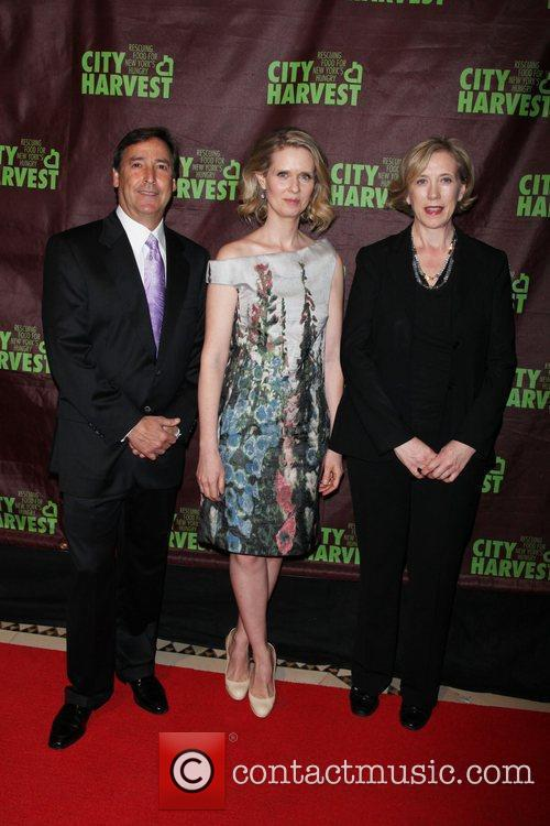 Bill Koenigsberg, Cynthia Nixon and Jilly Stephens, executive...