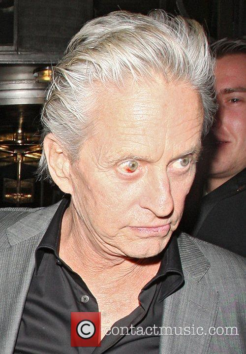 Michael Douglas appears to have a very blood-shot...
