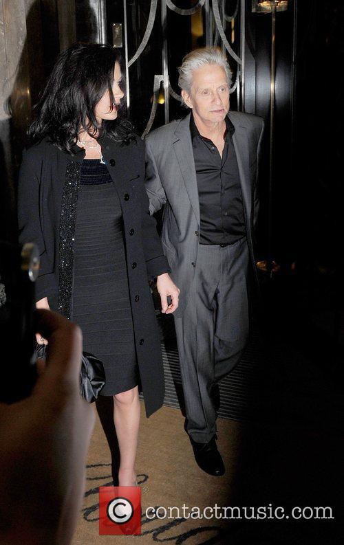 Catherine Zeta Jones and husband Michael Douglas outside...