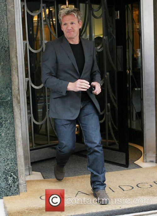 Celebrity chef Gordon Ramsay leaving Claridge's wearing a...