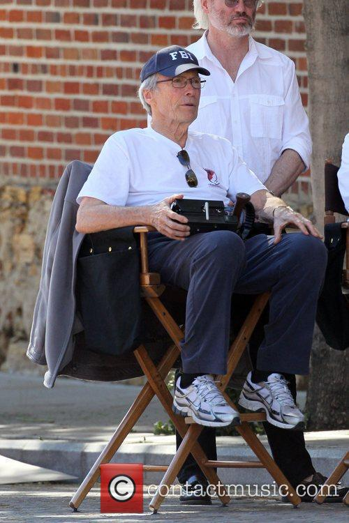 Clint Eastwood on the set of his new...