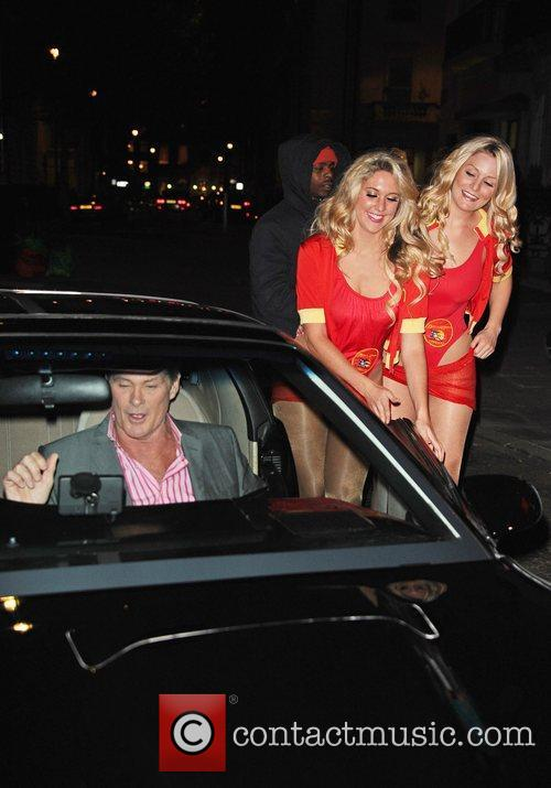 David Hasselhoff and models arrive at Clintons Celebrity...