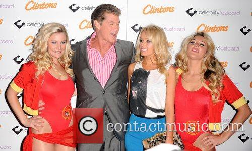 David Hasselhoff, Hayley Roberts and models arrive at...