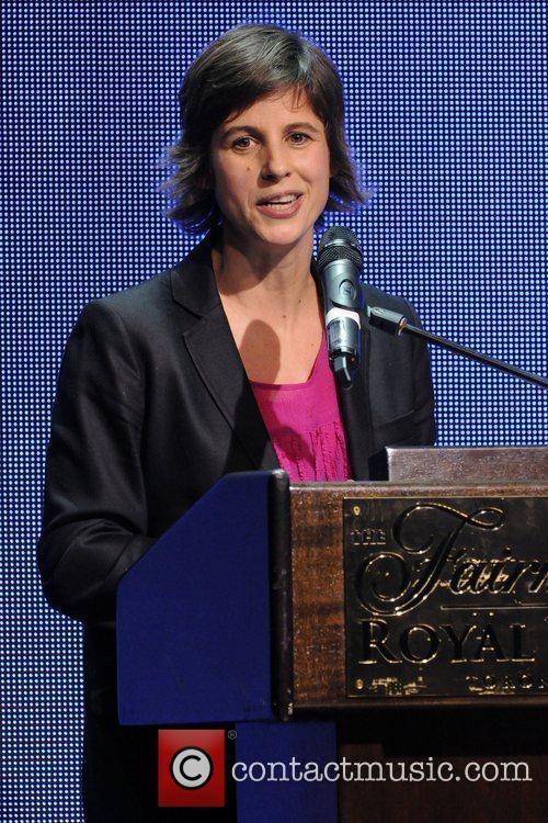 Julia Adam  accepting the Rosalie Award at...