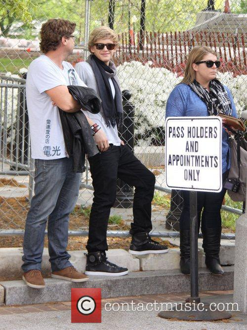 Australian singer Cody Simpson waiting to get into...